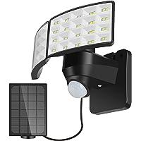 BOSWEE Luz de Seguridad Solar al Aire Libre Luz de Sensor de Movimiento Solar LED 1600LM con 2 Cabezales Ajustables…
