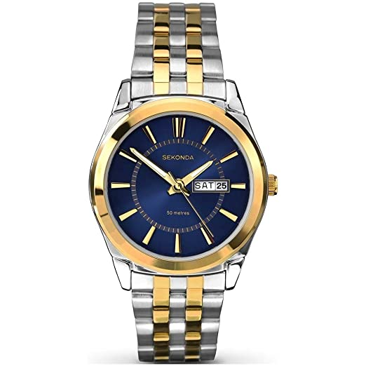 f3cb12cd4b40 Sekonda Men's Quartz Watch with Blue Dial Analogue Display and Silver  Stainless Steel Bracelet 1032.27: Babar: Amazon.co.uk: Watches