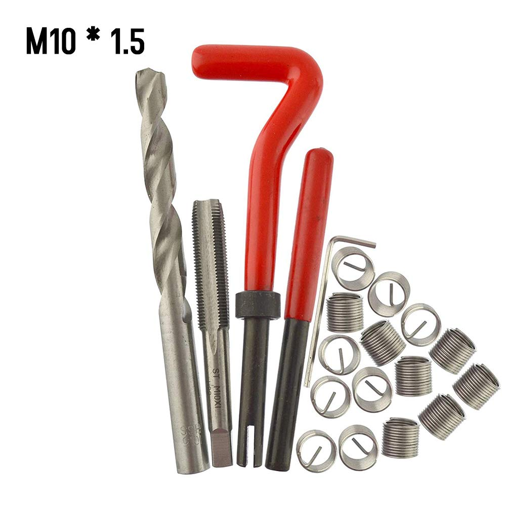 Festnight Kit Riparazione Filetti 15Pcs Kit di Inserti di Riparazione per Filettatura Metrica M5 M6 M8 M10 M12 M14 Strumento di Bobina per Auto Helicoil PRO