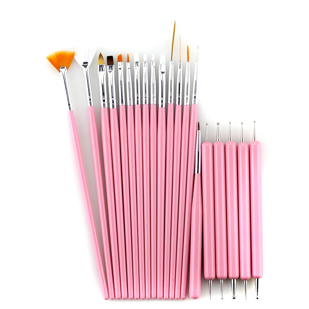 Glow 20 piece Nail Art Brushes and Nail Dotting Tools Set; Pink Paragon Enterprise Limited