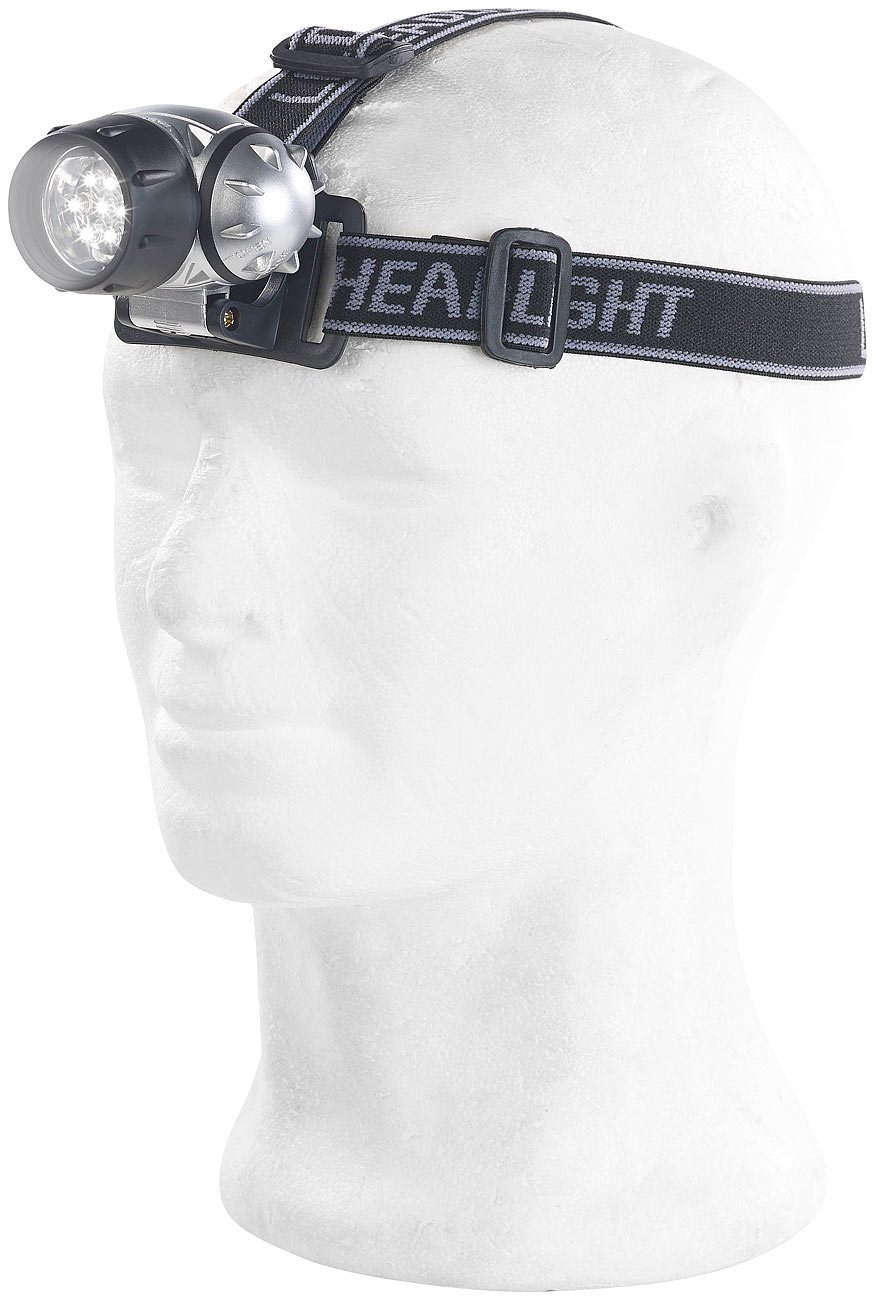 Lunartec LED Kopflampe: LED-Stirnlampe mit 7 LEDs und 3 Helligkeitsstufen Helmleuchten 2er-Set 30 Lumen