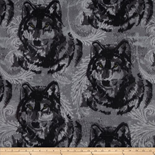 Winterfleece Wolf Grey/Black Fabric By The (Wolf Fabric)