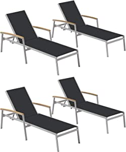 Oxford Garden Travira TVL80BN4 Chaise Lounge - Black Sling - Natural Tekwood Armcaps - Set of 4