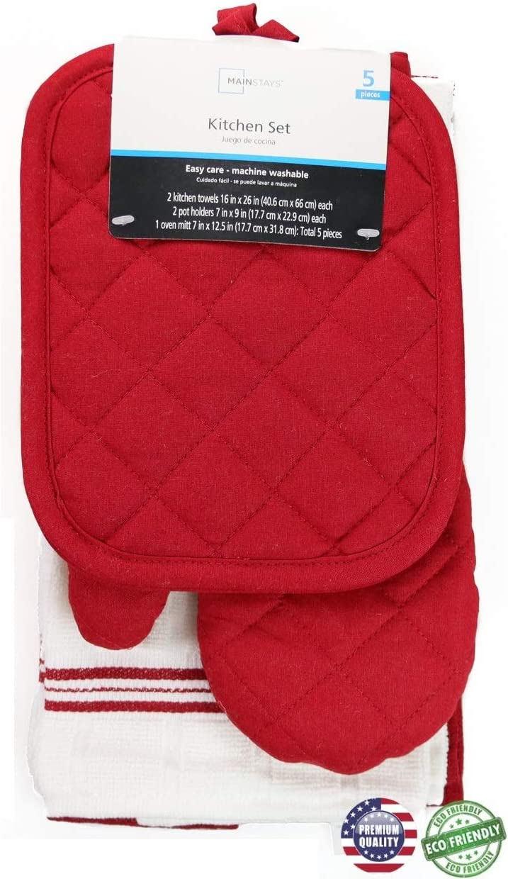 Mainstay Red Sedona Towel Kitchen Set 2 Towels, 2 Pot Holders and 1 Oven Mitt