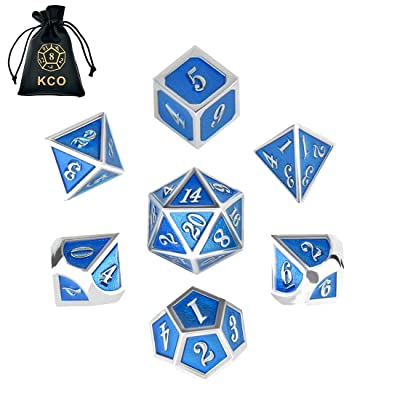 KCO D&D Metal Dice Set Enamel dice 7 Die Polyhedral Dice Set DND Dice Role Playing Game Dice Set with Storage Bag for RPG Dungeons and Dragons D&D Math Teaching: Toys & Games