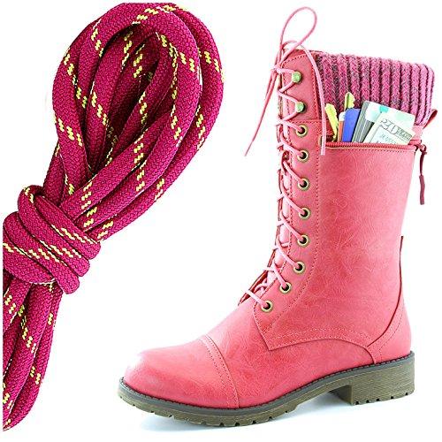 Dailyshoes Da Donna Stile Di Combattimento Lace Up Stivaletto Alla Caviglia Punta Rotonda Militare A Maglia Carta Di Credito Coltello Portafoglio Soldi Pocket Boots, Hot Pink Lime Hot Pink Pu