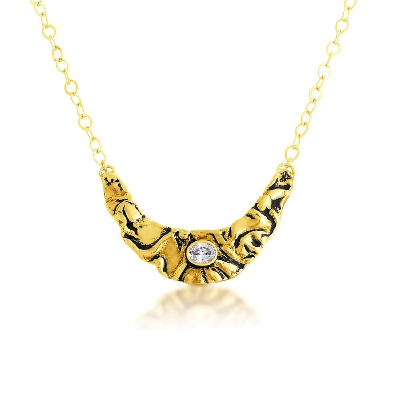 Large Wrinkled Boomerang Bib with CZ Center and Black Tone Pendant Necklace