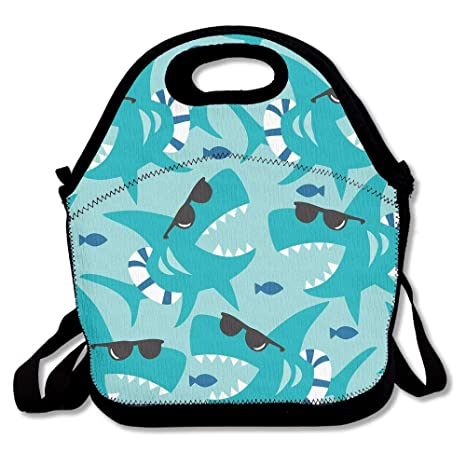 Cute Shark Insulated Lunch Bag Lunch Tote Bag Travel School Picnic Lunch Box For Men & Women & Kids Camping e outdoor