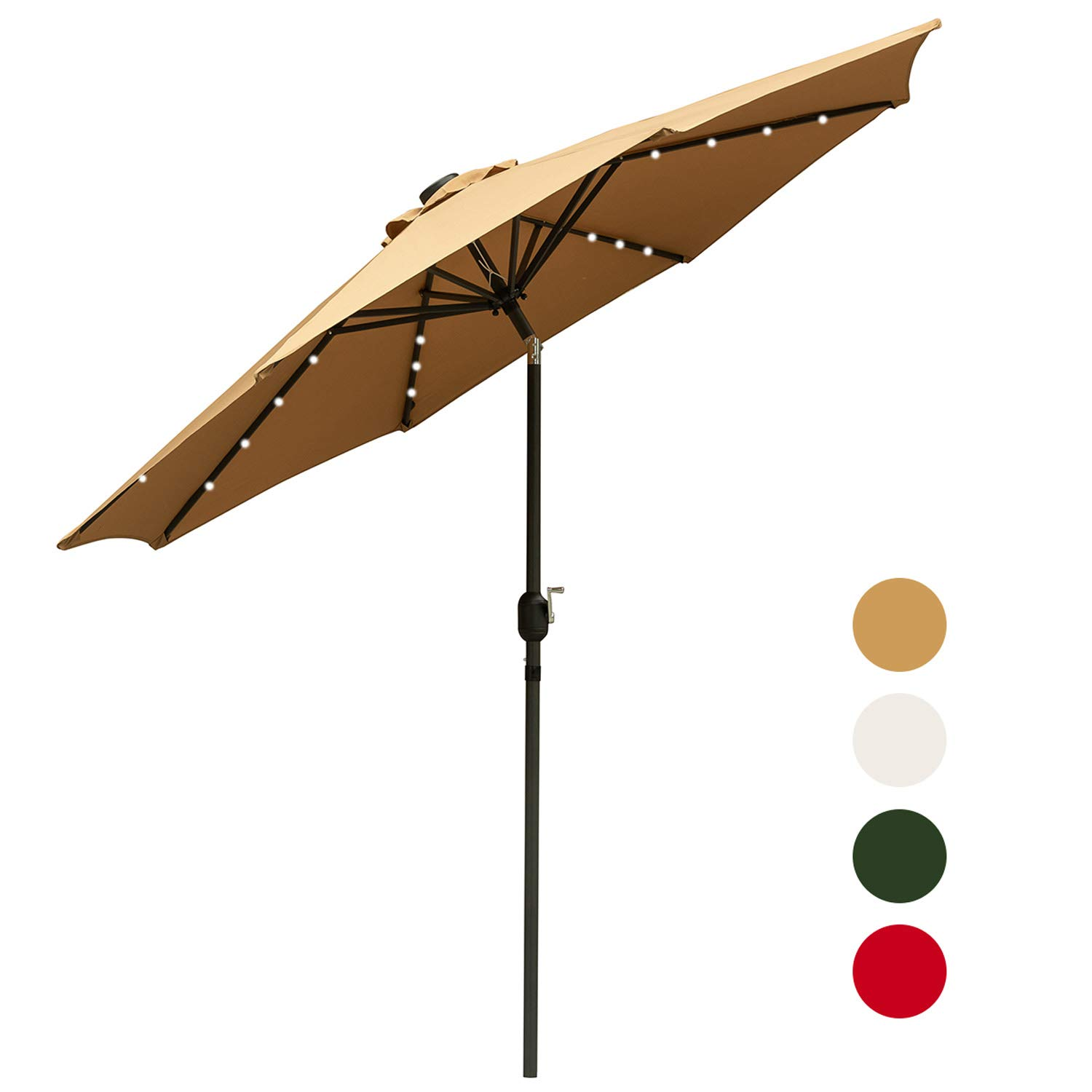 Outdoor Basic 9 Ft Patio Umbrella Solar Powered LED Lighted Fade-Resistant Table Umbrella with Wind Vent Brown by Outdoor Basic