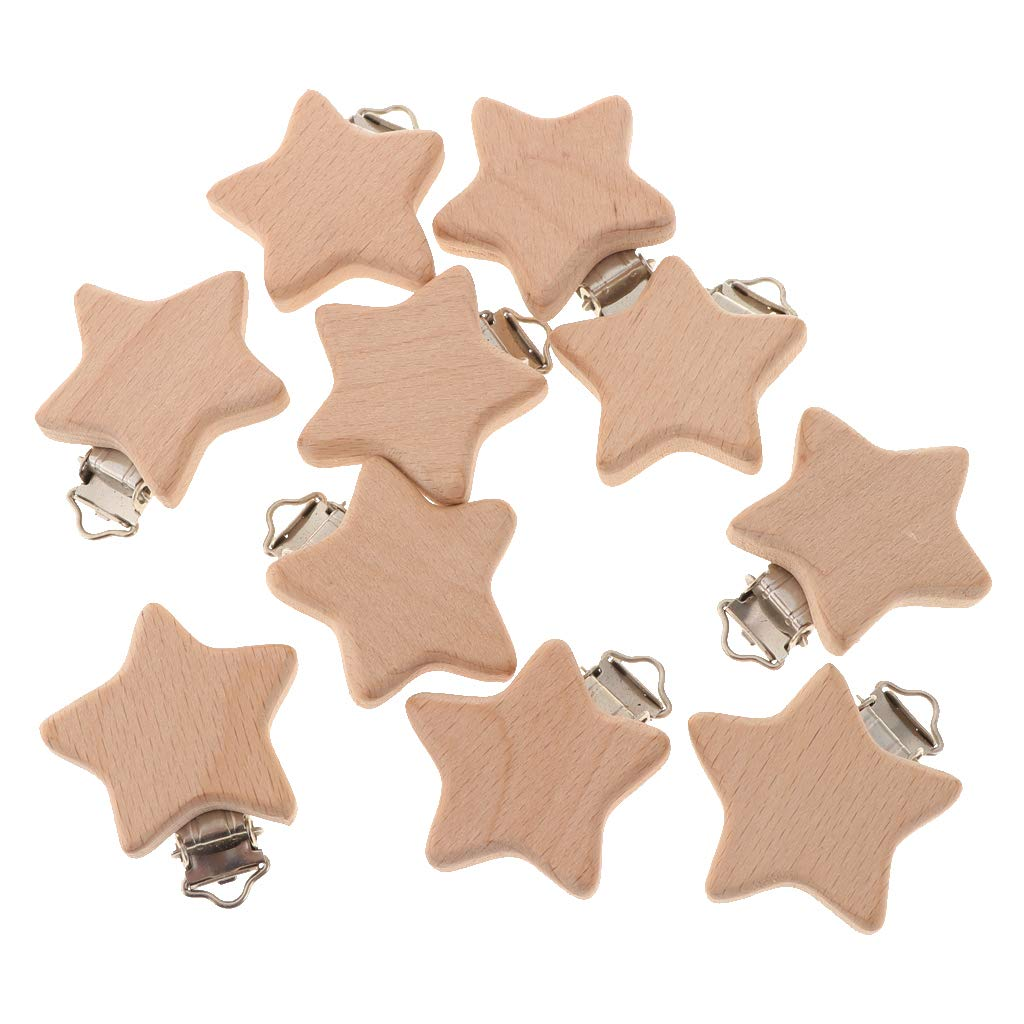 IPOTCH 10Pcs Wooden Pacifier Clip Natural Beech Dummy DIY Pacifier Chain Accessories - Heart, as described
