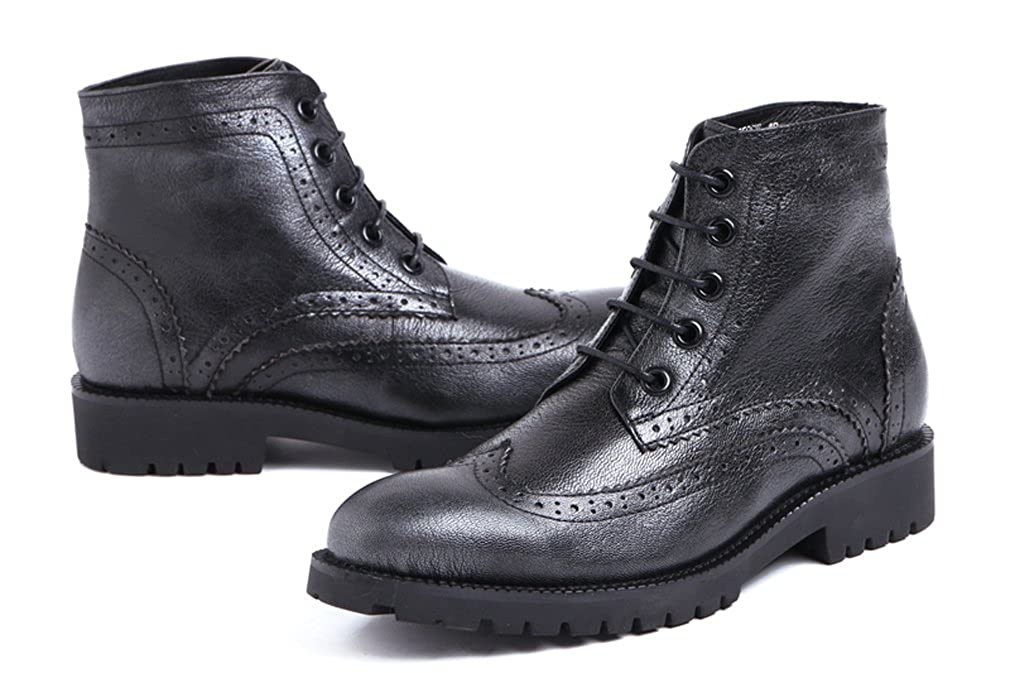 FARYM Mens Cow Leather Lace Up Brogue Winter Boots