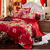 GL&G European cotton dyed satin colored cotton jacquard four sets of cotton bedding (quilt Cover × 1PC, Bed Sheet × 1PC, Pillowcase × 2PCS),S,King Size