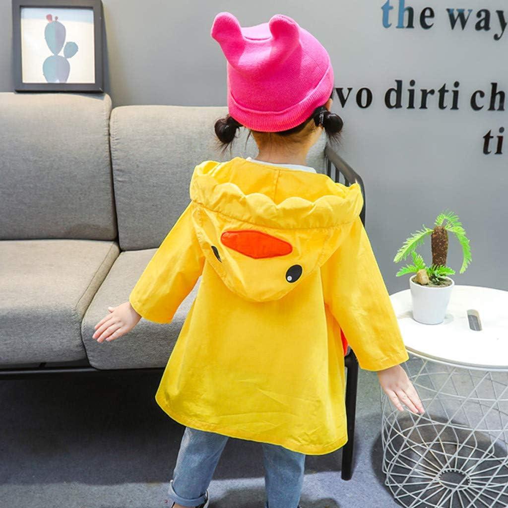 SUGLORY Little Girls Windproof Hooded Trench Coat Cute Cartoon Autumn Windbreaker Jacket Casual Outwear Hoodies for 0-3 Years Kids
