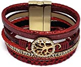 Pelican Sunwear Tree of Life Bracelet - Bohemian Leather and Crystal Multi-Layered Wide Cuff Wrap Magnetic Clasp (Red)