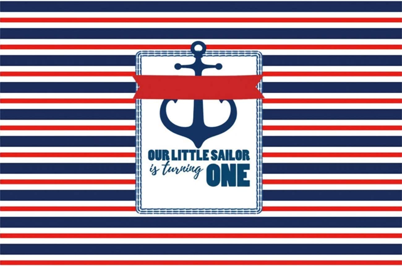 YEELE 1st Birthday Backdrop 10x8ft Nautical Theme Little Sailor Photography Background First Birthday Boys Girls Room Decoration Cake Smash Party Table Photobooth Props Digital Wallpaper