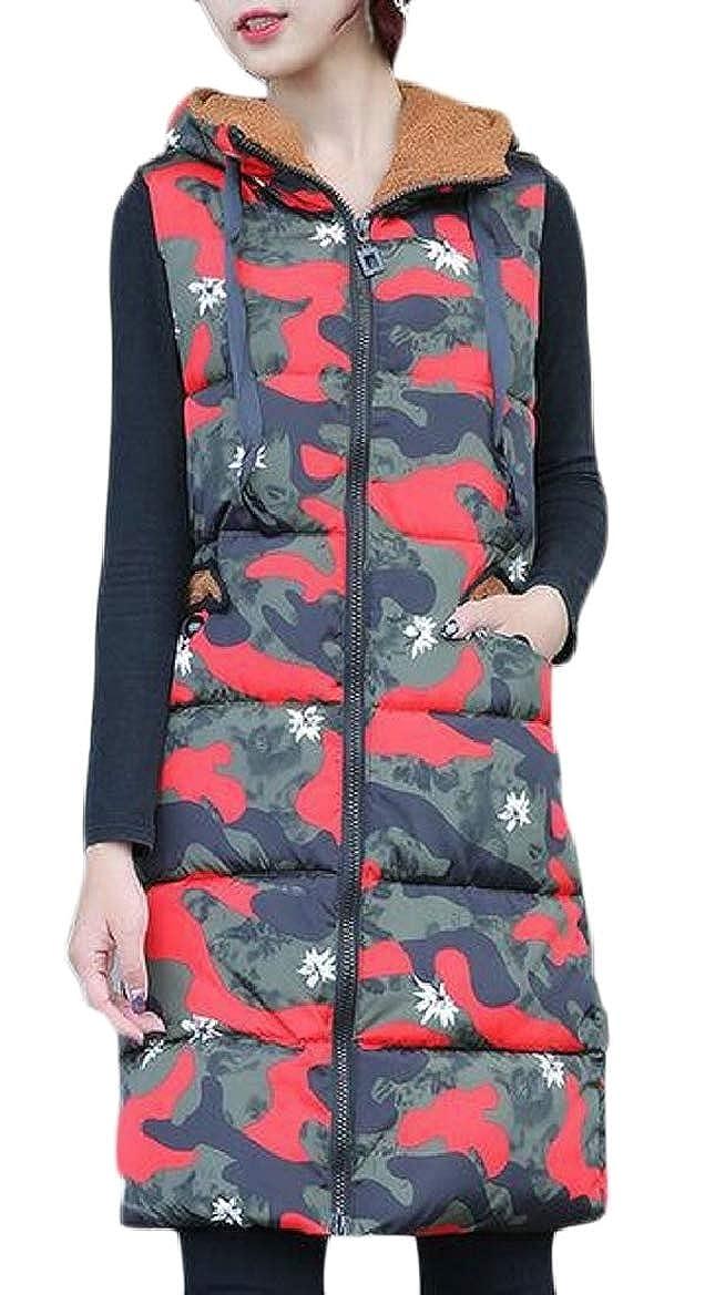 1 pujinggeCA Women's Down Jacket Winter Warm Camo Hoodie Waistcoat Vest