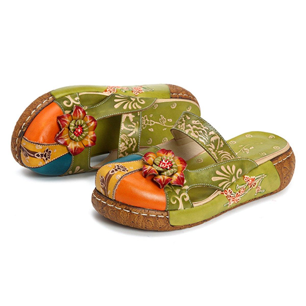 Gracosy Pantofola in Pelle da Donna Mocassini Donna Sandali Piatti Slip-On in Pelle Estiva Slipper di Oxford Sandali Estivi Vintage Fiore Colorato Backless Scarpe Fannullone Verde