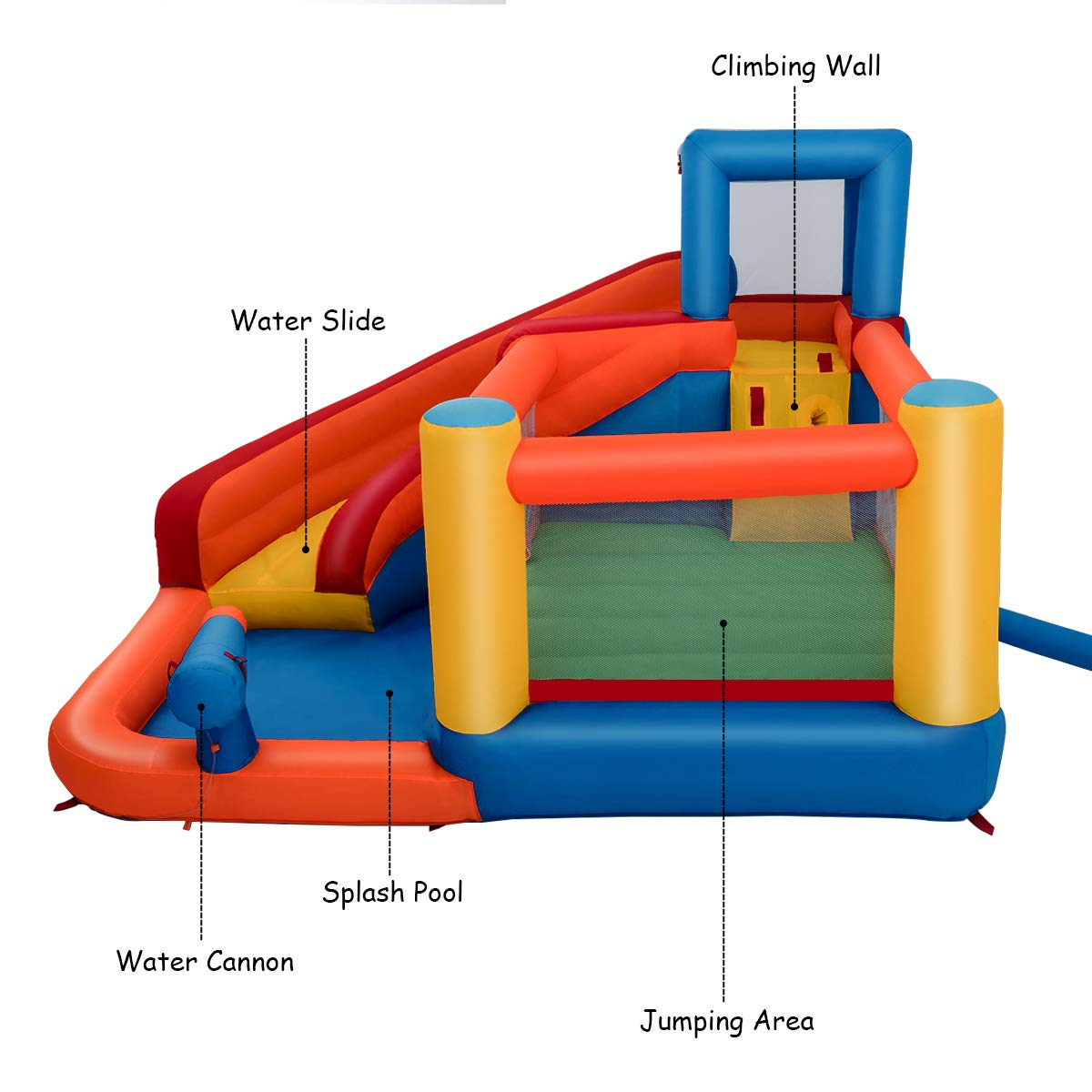Costzon Inflatable Bounce House, 5-in-1 Water Slide w/ Climbing Wall, Jumping Area, Splash Pool, Water Cannon, Including Oxford Carry Bag, Repairing Kit, Stakes, Hose, Without Blower by Costzon (Image #2)