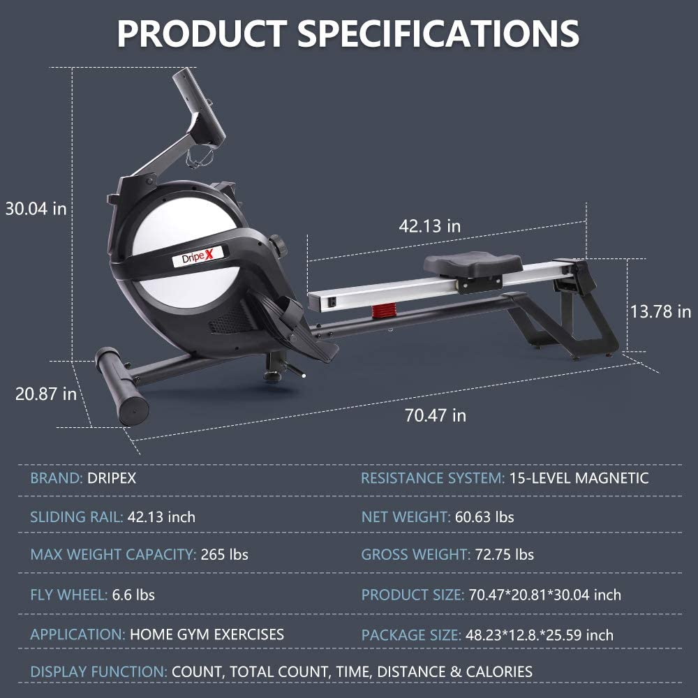Dripex Magnetic Rowing Machine - Product specifications