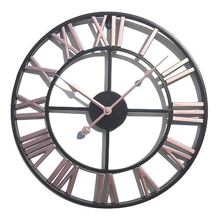 PHYNEDI Horloge Pendule Murale Design Vintage Horloge silencieuse de Salon D/écoration Horloge Murale geante, m/étal diam/ètre 60 cm