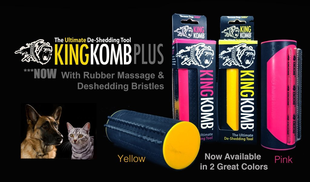 King Komb Revolutionary 3 Blade Brush with Rubber Bristles for Shedding Dogs Cats Horses Reduce Shedding By Up To 90 Percent