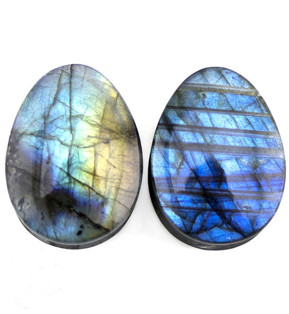 TOPBRIGHT Pair of Labradorite Stone Teardrop Plugs Earring Gauges Organic Flesh Ear Tunnels Expander by TOPBRIGHT