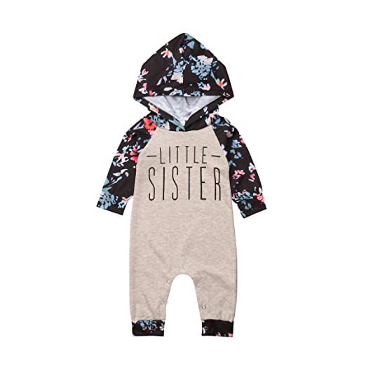74f9c71d4162 ITFABS Family Matching Outfits Baby Girl Sister Match Floral Clothes Hooded  Sweatshirts Top Kids Jumpsuit Romper