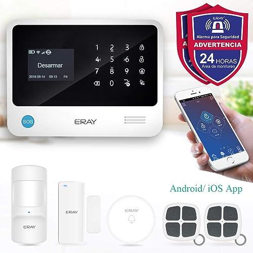 ERAY S2 Alarmas para Casa WiFi gsm 3G GPRS Antirrobo Inalámbrico SOS Botón App Gratuita Servicio Garantía Multi Accesorios y Pilas Incluidas Voz y LCD Pantalla en Castellano 433MHz
