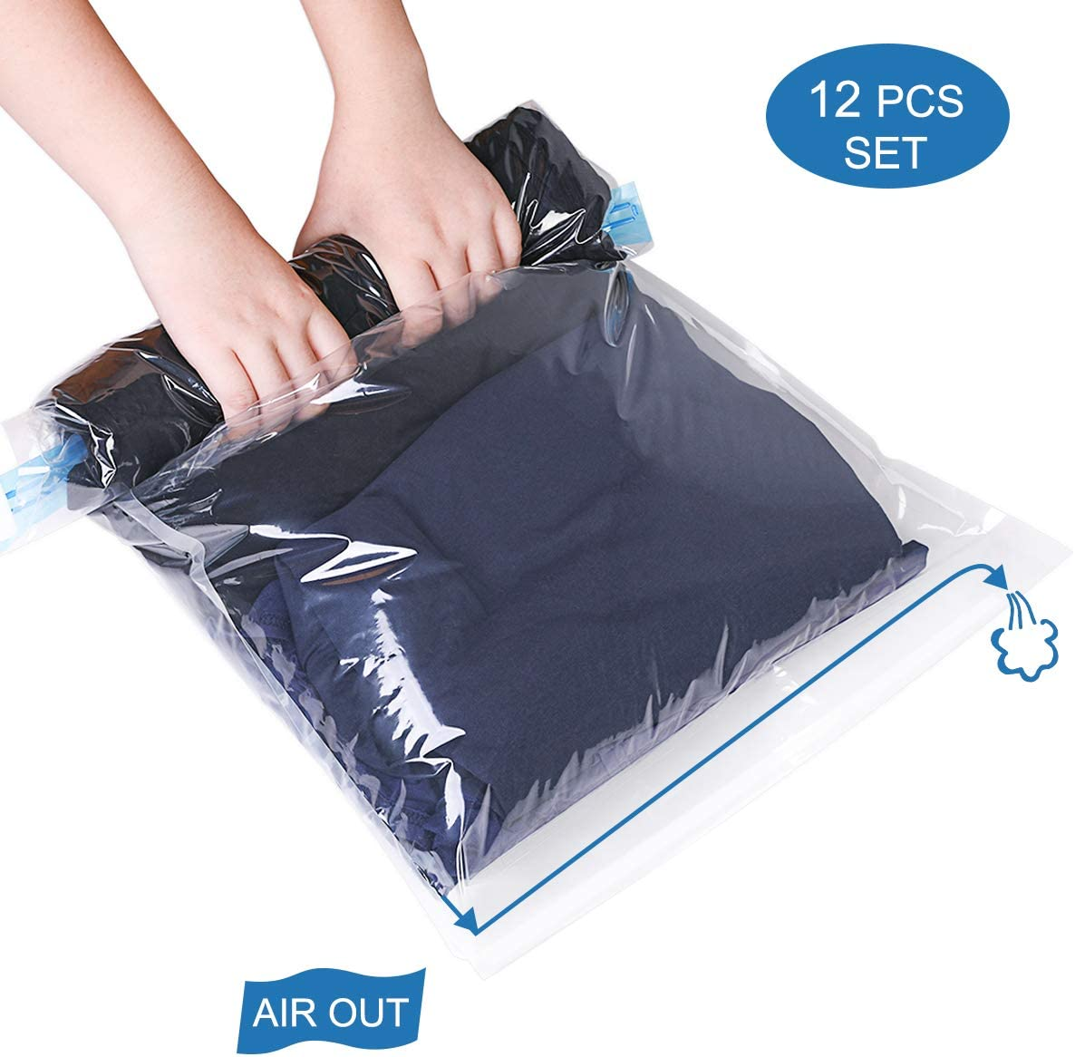 """HOMEIDEAS 12 Pack - 4X(28""""x20"""") + 8X(24""""x16"""") - Travel Space Saver Bags - Roll up Storage Bags for Clothes - Compression Bags for Travel - No Vacuum Needed - Save Space in Your Luggage"""