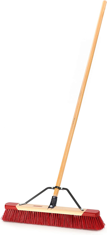 Harper Push Broom Wet//Dry Outdoor Steel Brace Hard Polypropylene Bristle 24 in W