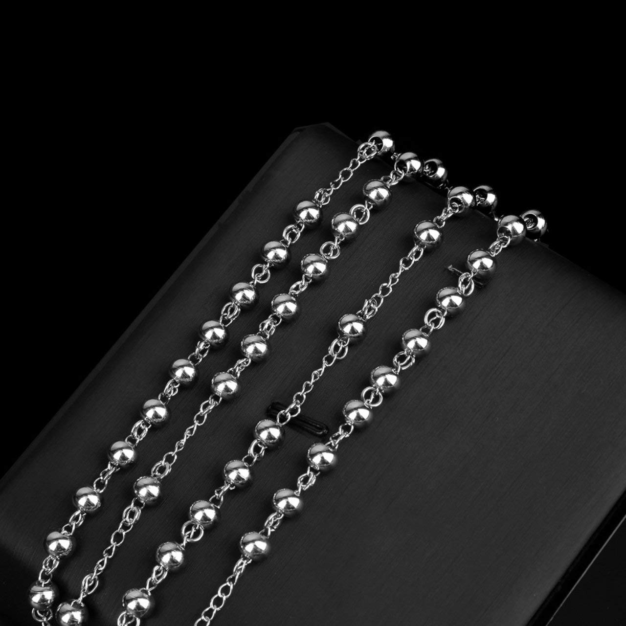 fFRtprintse Breloques Unisex en Acier Inoxydable Argent Chapelet Perles en Acier Inoxydable Collier Pendentif Croix Design de la Mode