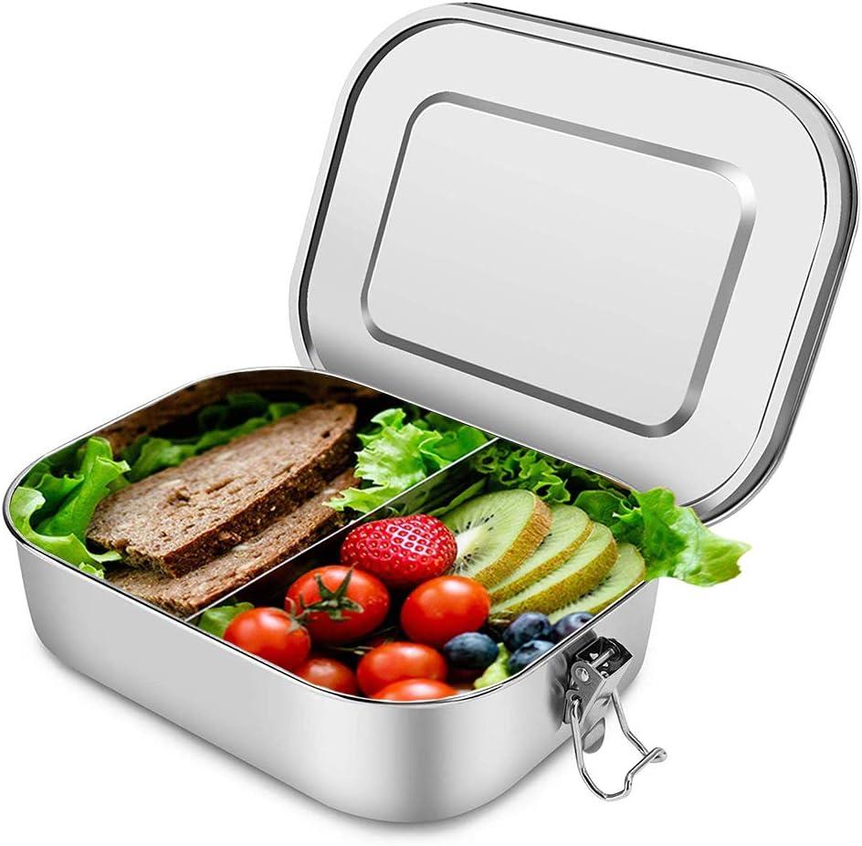 Modello a Tre Sezioni Pu/ò Contenere un Panino e Due Contorni LunchBots Bento Trio Ampio Contenitore per Alimenti in Acciaio Inossidabile Lavabile in Lavastoviglie e Senza BPA /&ndas Contenitore per Alimenti per Grandi e Piccini