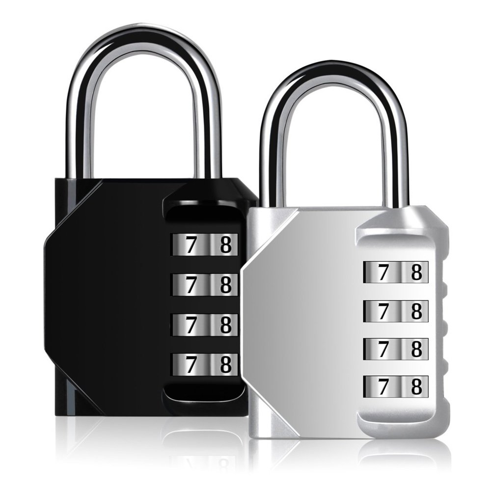 Blingco Combination Lock, 4 Digit Anti Rust Padlock Set Security Padlock for Gym, Sports, Fence, School and Employee Locker, Outdoor, Hasp Cabinet and Storage, 2 Pack