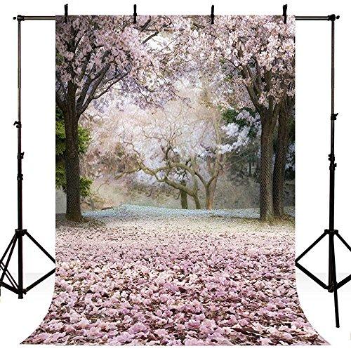 5x7ft Vinyl Spring Pink Sakura Tree Floral Photography Studio Backdrop Background