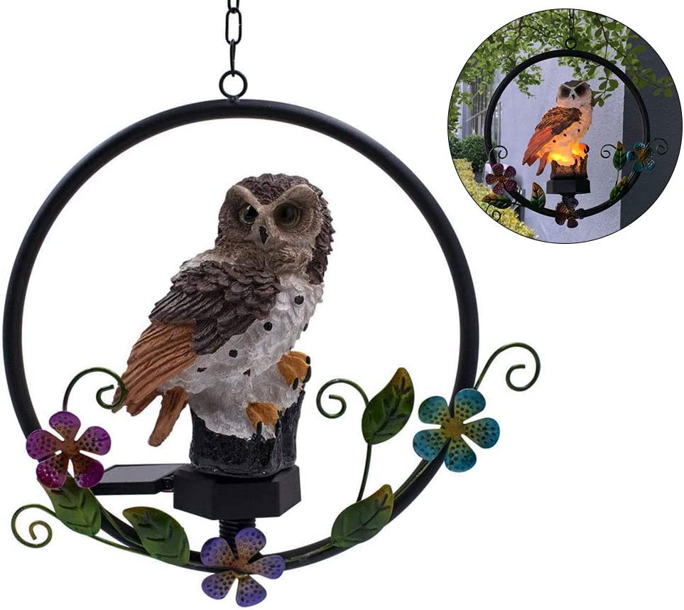 ASFSKY Solar Owl Garden Decorations LED Owl Hanging Ring Statue Retro Metal Waterproof for Outdoor Decorative Owl Ornament Owl Gifts for Owl Lovers (Brown)