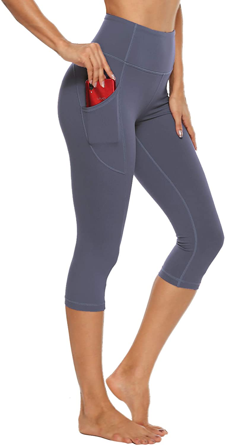 STELLE Women's Capri Yoga Pants with Pockets High Waisted Legging for Gym Workout (Gray Blue, Medium)