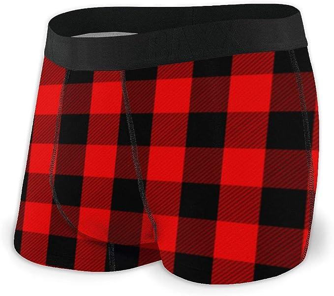 Mens Red Buffalo Plaid Athletic Underwear Cotton Stretch Boxer Brief