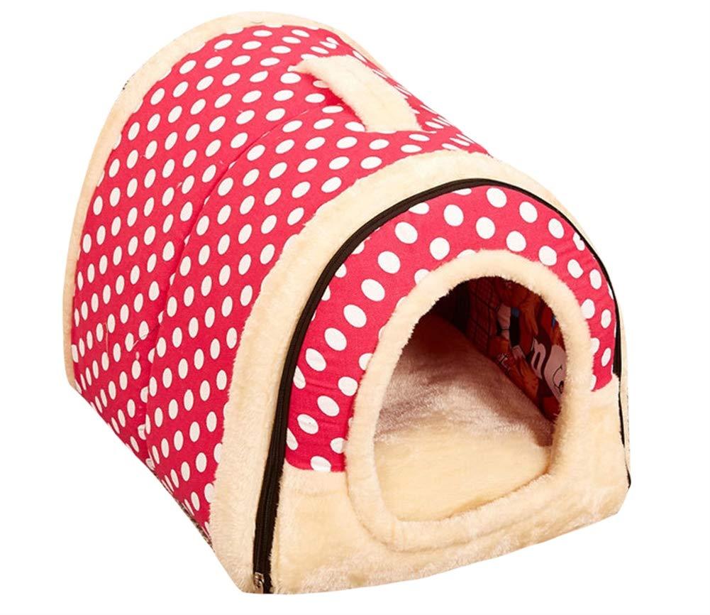 Pink Dot L Pink Dot L Icegrey Vintage Cat Cave Bed 2 in 1 Pet House Warm Soft Cat Bed Pink Dot L