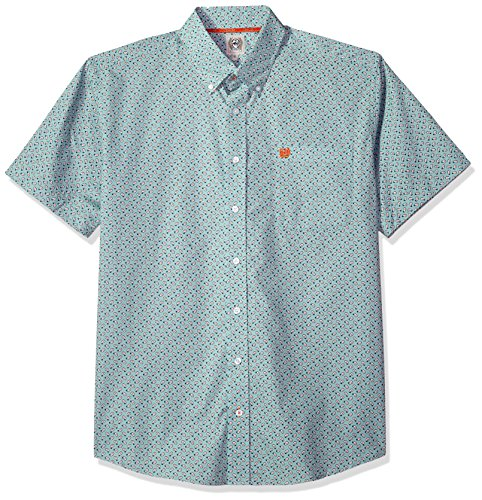 Classic One Pocket (Cinch Men's Classic Fit Short Sleeve Button One Open Pocket Print Shirt, Light Blue Paisley, M)