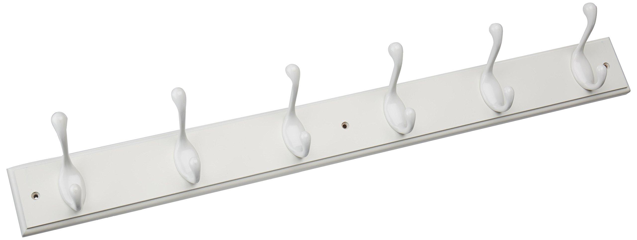 Brainerd RPLR6DJ-PWW-L1 27-Inch 6 Heavy Duty Coat and Hat Hook Rail/Rack, White and White