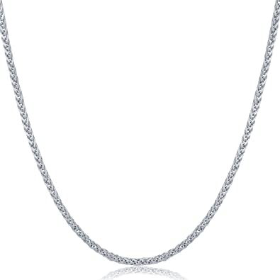 18ct 750 Gold Round Wheat Spiga Chain Necklace With Spring Ring Clasp hssFQhEE