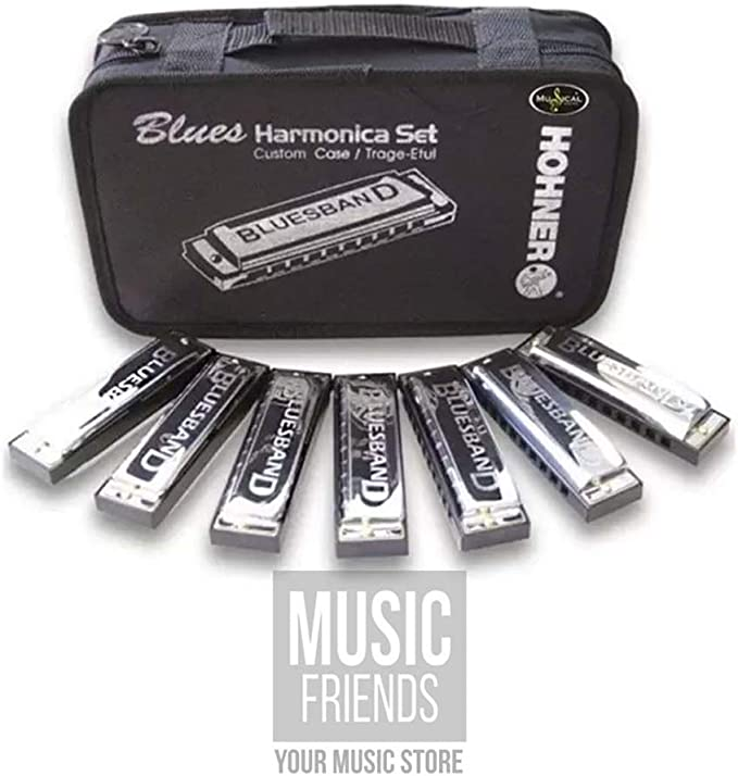 Peace Harmonica Black with Bling Peace with Pave Glass Crystals on Long Gunmetal Chain Music Jewelry Small Working Harmonica Blues Jazz Funk