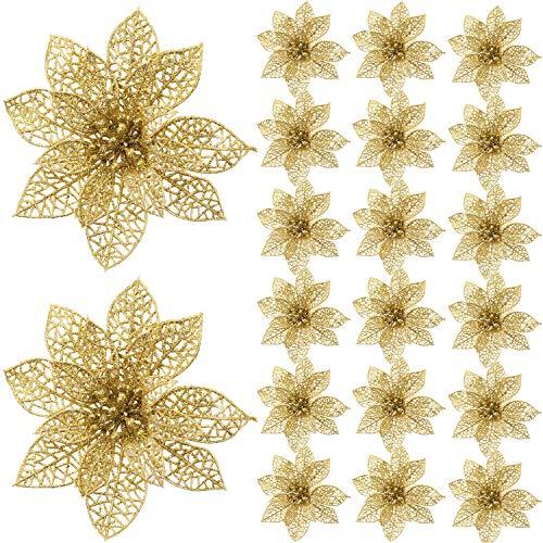 Ornaments Artificial (SATINIOR 20 Pieces Glitter Christmas Tree Ornaments Artificial Wedding Christmas Poinsettia Flowers for Festival Decoration (Gold))