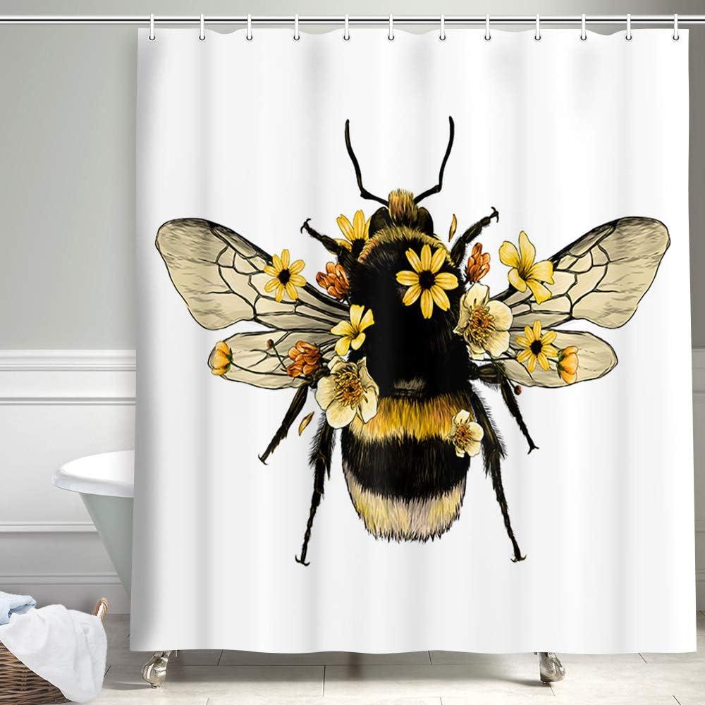 Wild Animals Honeycomb Honey Bee with Daisy Flower Shower Curtain, Farmhouse Honey I'm Home Bee Modern Bird Bee Garden Vintage Queen Floral Polyester Fabric Bathroom Decorations, Bath Curtains Hooks