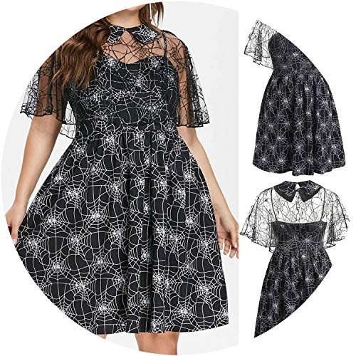 2019 Spring,Spring Plus Size Halloween Party Web Print Yarn Sleless Suspender Dress,XL, ()