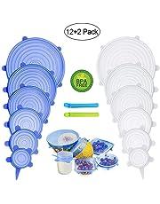 PHYLES Couvercle Silicone Alimentaire, 12 pcs Réutilisable Couvercles Silicone Extensible pour la Conservation des Aliments - sans BPA, Réduire Le Film Plastique - Protéger l'environnement