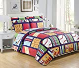 Mk Collection 5pc Twin Quilted Bedspread Set All Star Sports Baseball Basketball Football Soccer Blue Red Light Green White Light Blue Brown Beige New