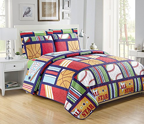 Mk Collection Quilted Bedspread Set All Star Sports Baseball Basketball Football Soccer Blue Red Light Green White Light Blue Brown Beige (Twin 5pc)