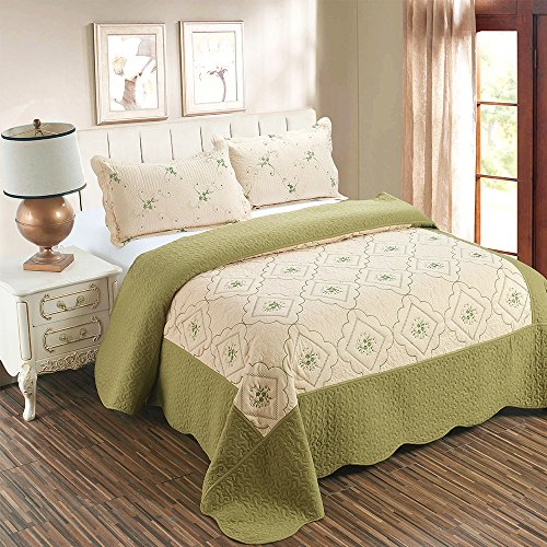 Embroidery Patchwork Comforter Set - JessyHome 3-Piece Quilt Coverlet Bedding Set Full/Queen(90