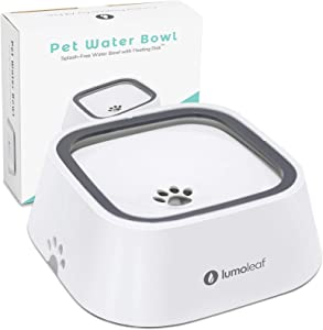 LumoLeaf Dog Water Bowl, Dog Bowl No-Spill Pet Water Bowl, Slow Water Feeder Dog Bowl, Vehicle Carried Dog Water Bowl for Dogs/Cats/Pets (White, 35oz)